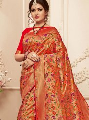 Banarasi Silk Red Trendy Saree