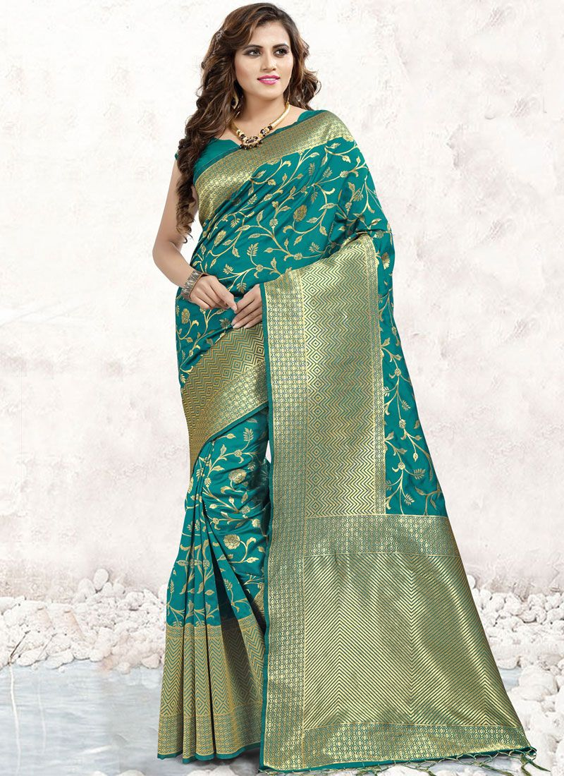 Banarasi Silk Sea Green Classic Saree