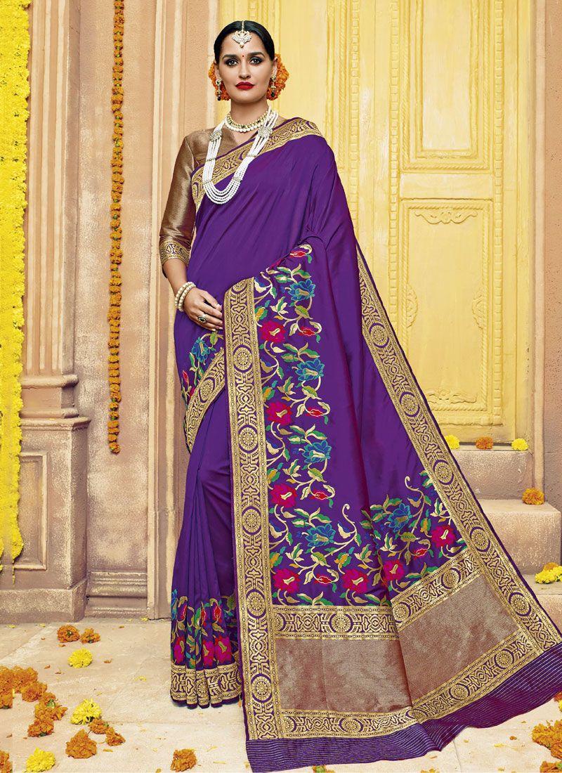 Banarasi Silk Violet Classic Saree