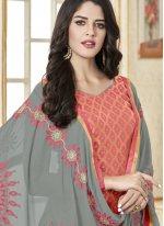 Banarasi Silk Woven Churidar Designer Suit in Pink