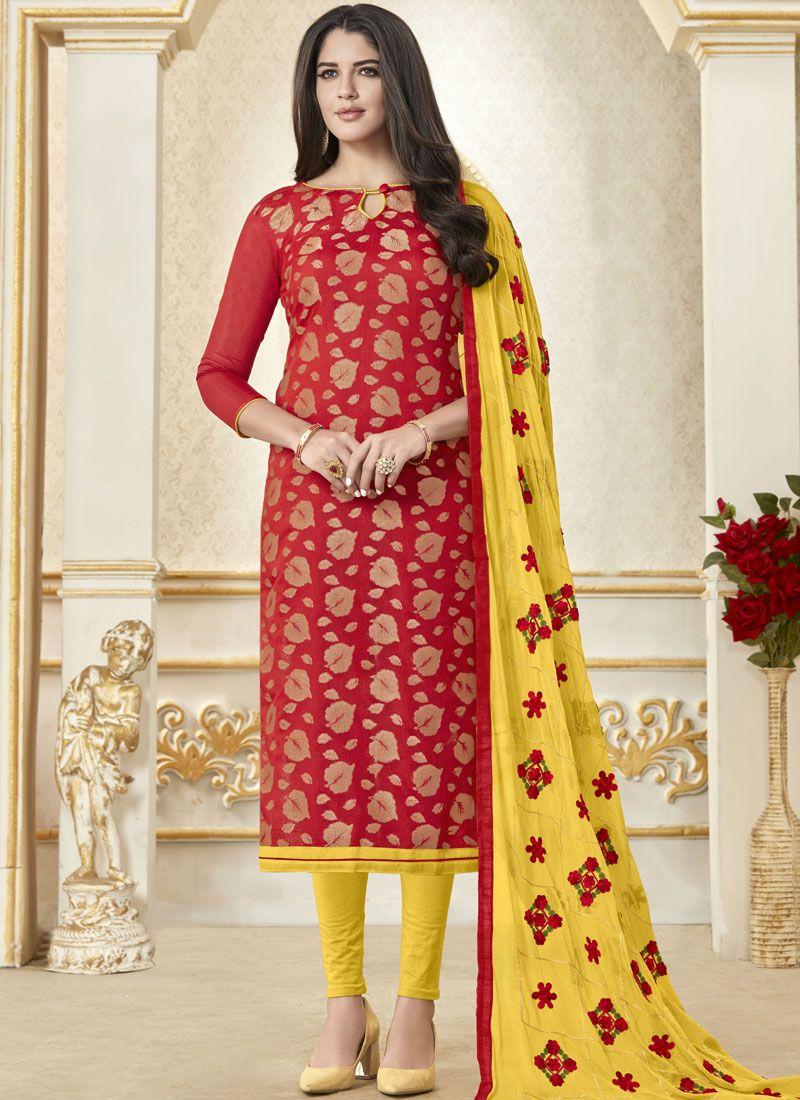 Banarasi Silk Woven Red Churidar Designer Suit
