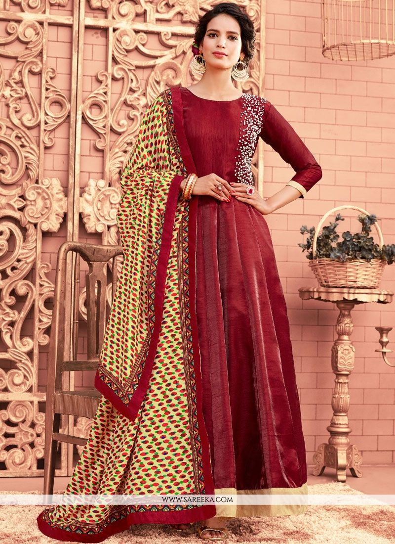 Banglori Silk Maroon Hand Work Work Floor Length Anarkali Suit
