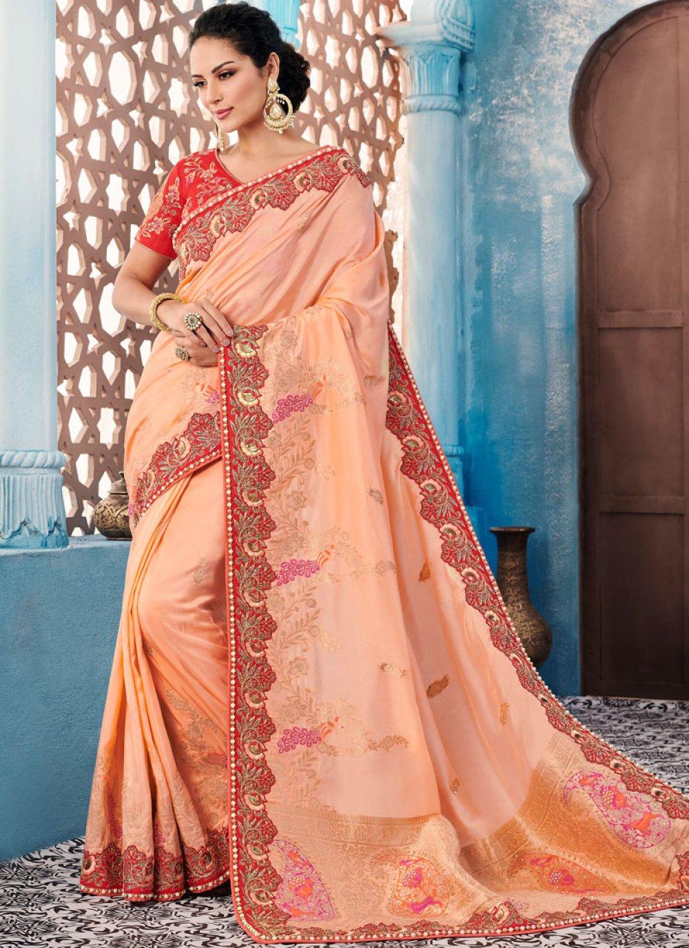 Banglori Silk Peach Trendy Saree