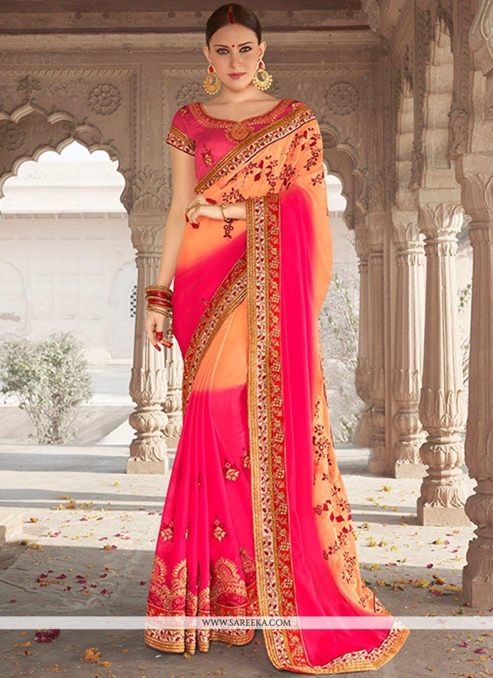 Banglori Silk Rose Pink Designer Saree