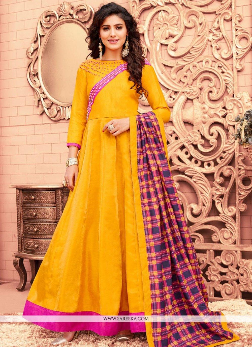 Banglori Silk Yellow Floor Length Anarkali Suit