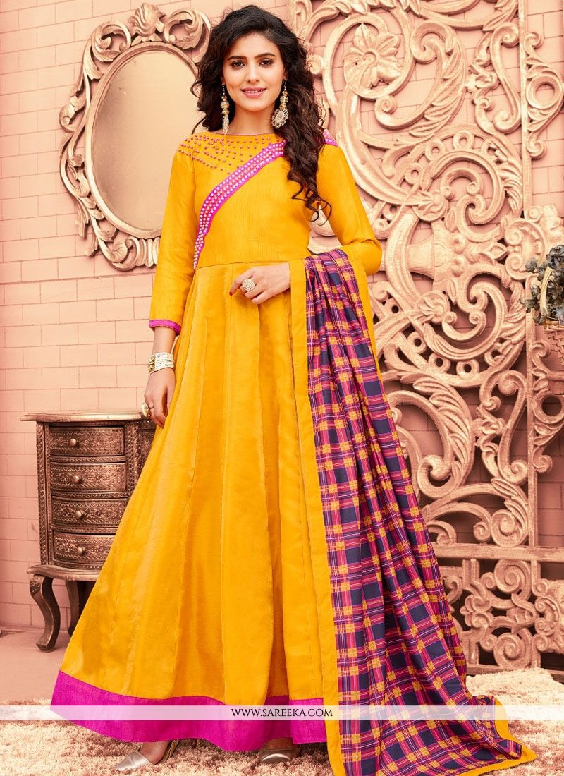 Banglori Silk Yellow Floor Length Anarkali Suit