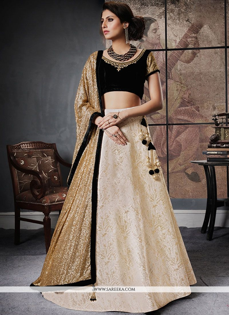 Beige and Black Net Lehenga Choli
