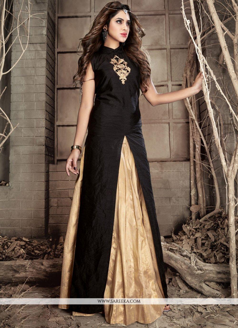 Beige and Black Resham Work Banarasi Silk Designer Suit