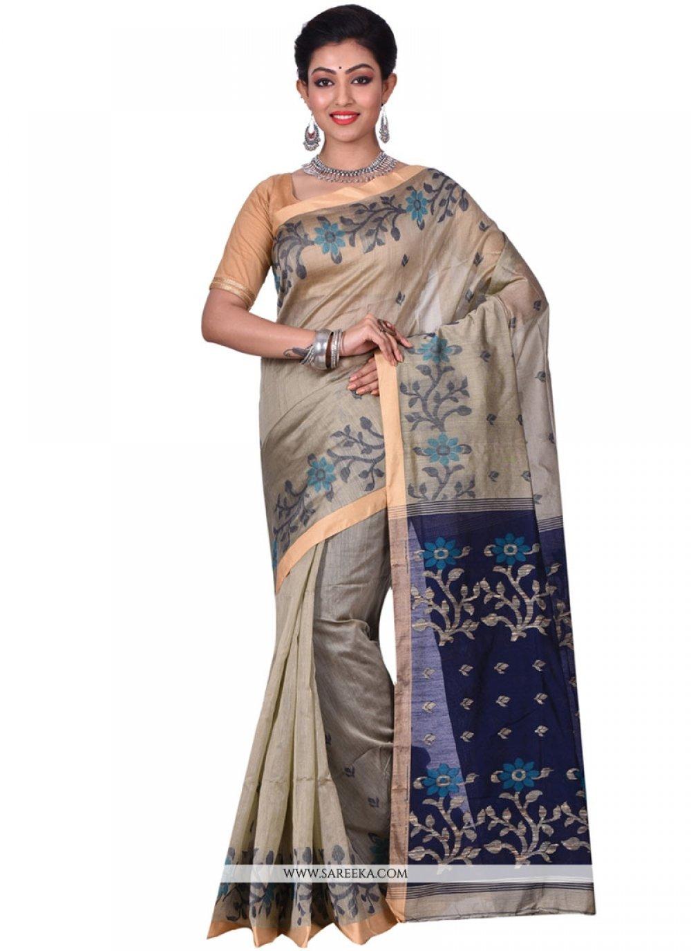 Beige and Black Resham Work Silk Traditional  Saree