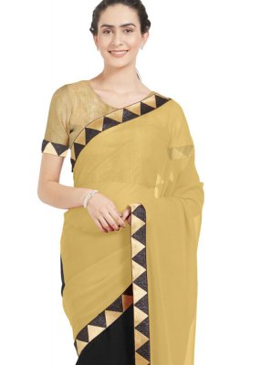Beige and Black Zari Work Casual Saree