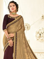 Beige and Brown Patch Border Work Faux Chiffon Half N Half Designer Saree