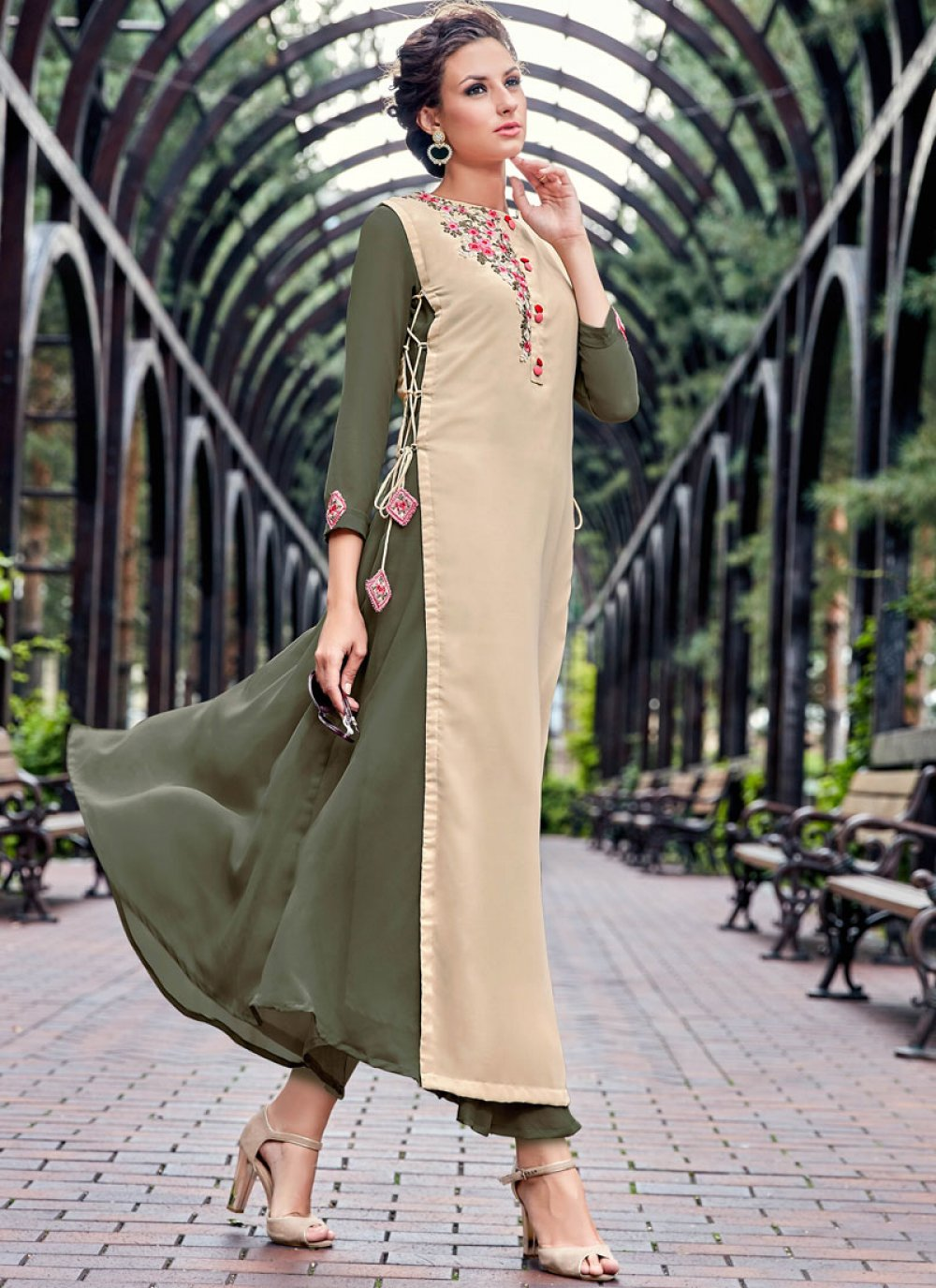 Beige and Green Party Wear Kurti