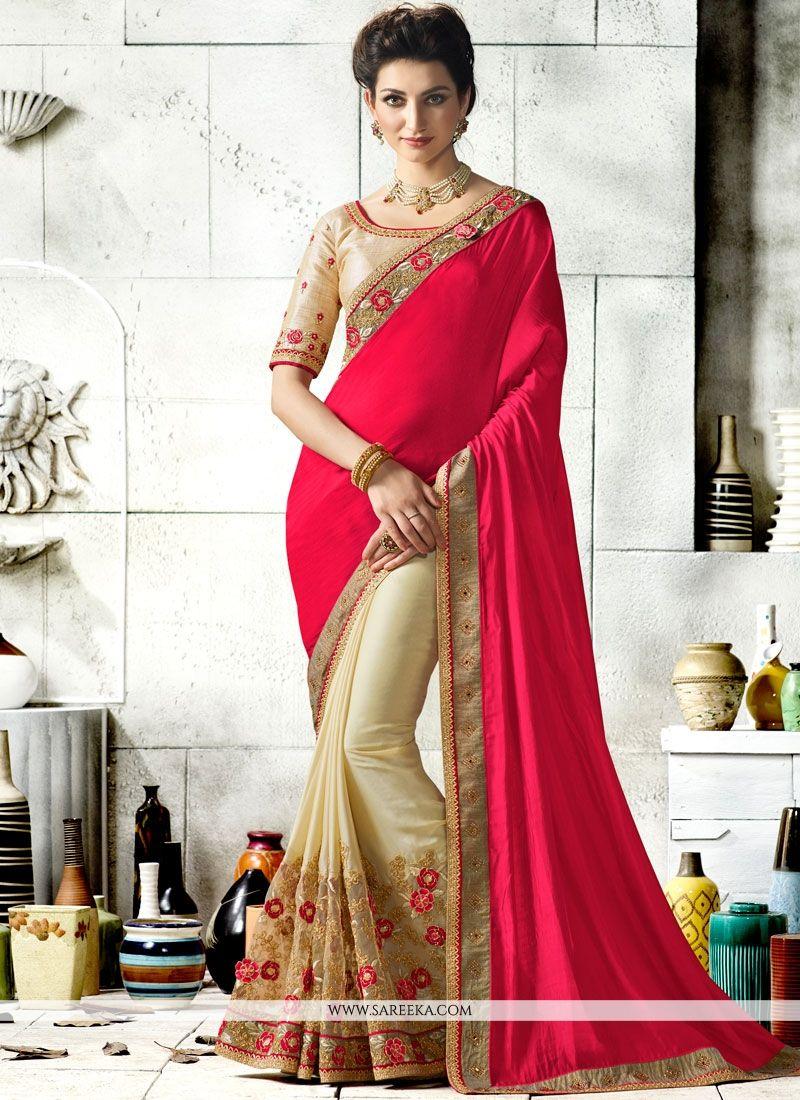 Beige and Hot Pink Designer Half N Half Saree