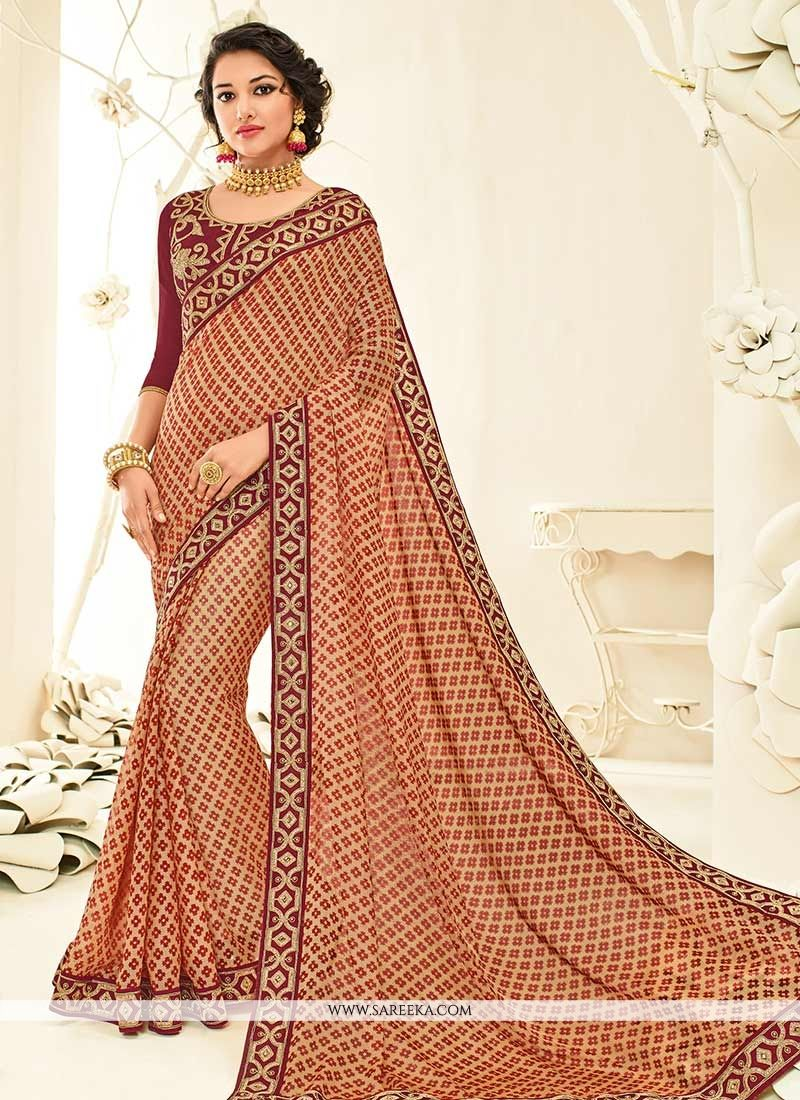 Beige and Maroon Classic Designer Saree