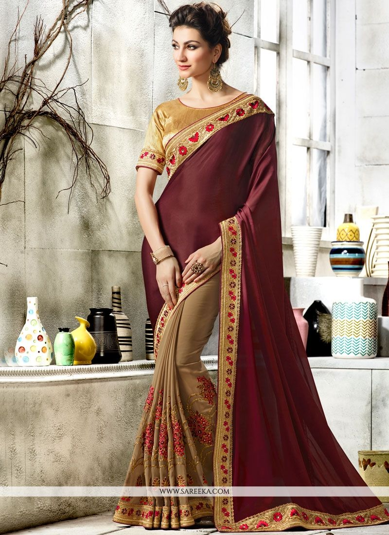 Beige and Maroon Designer Half N Half Saree