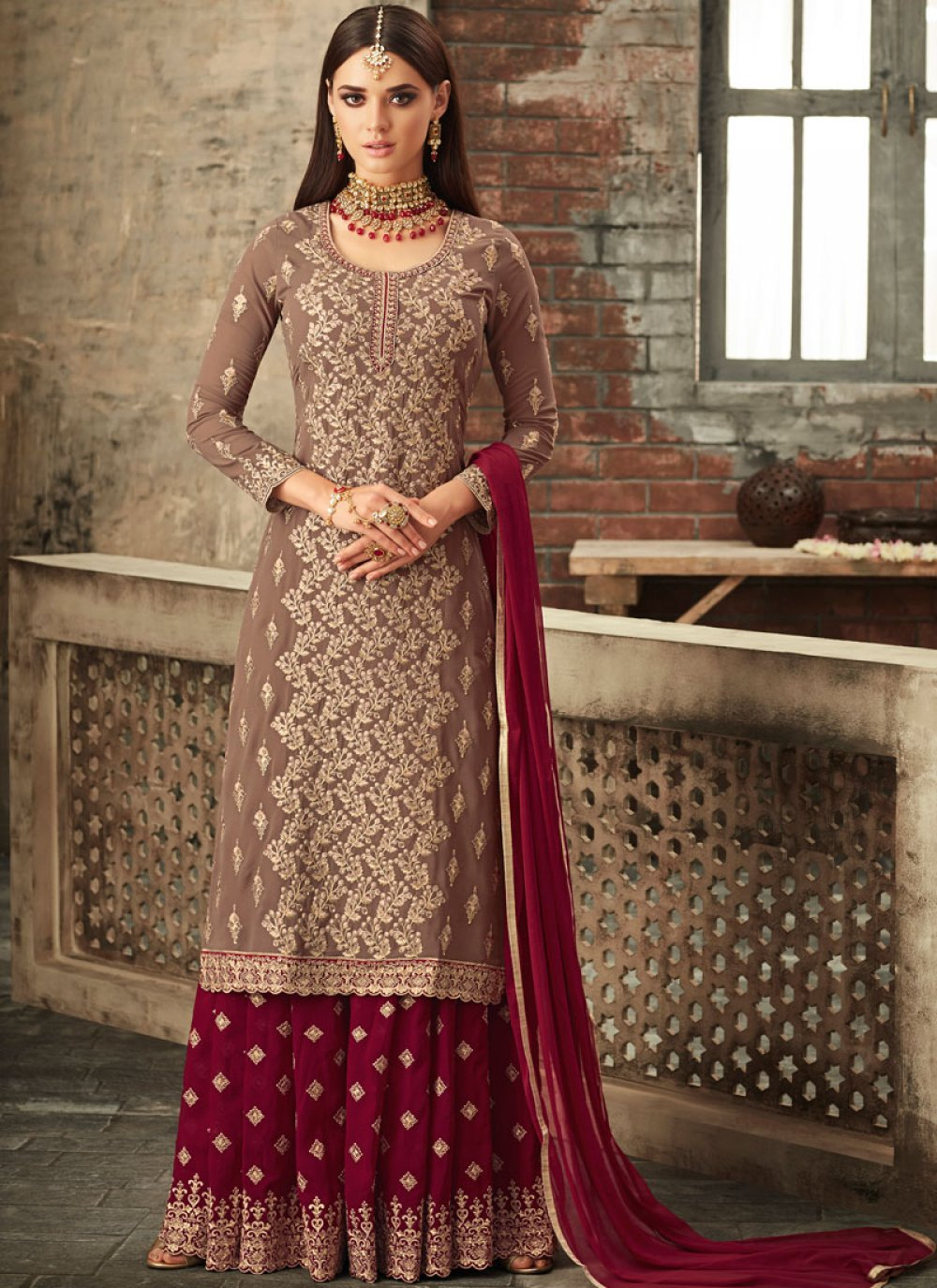 Beige and Maroon Faux Georgette Designer Palazzo Suit