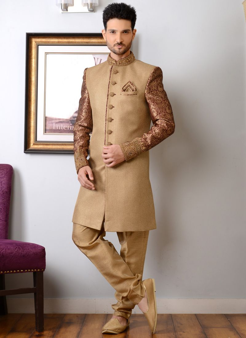 465c2d3447f8 Beige and Maroon Jacquard Silk Indo Western Sherwani with Embroidered buy  online -