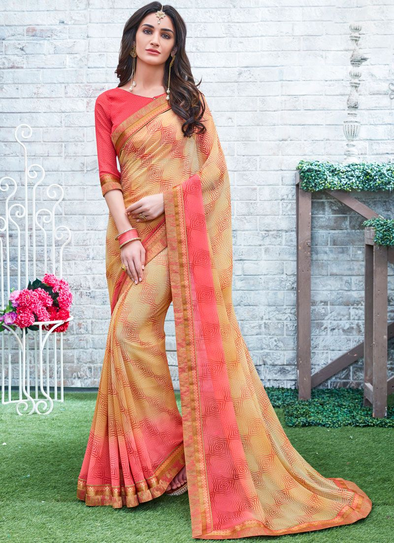 Beige and Peach Printed Work Georgette Printed Saree