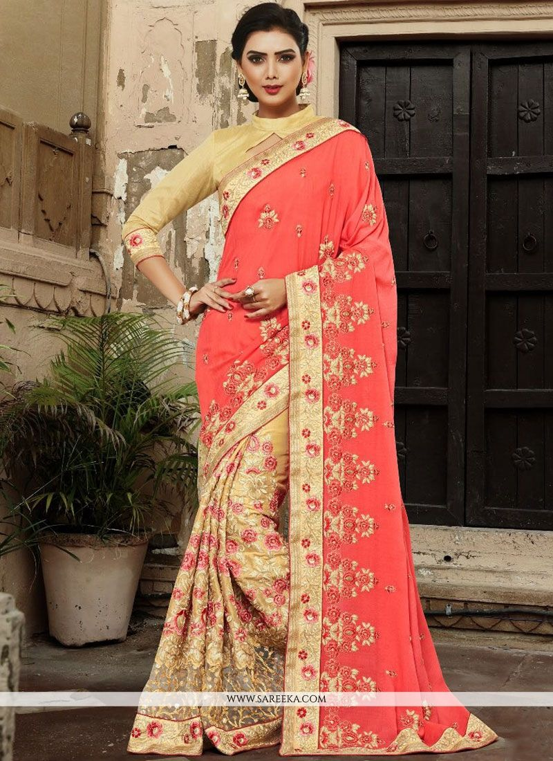 Beige and Pink Half N Half Designer Saree