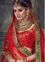 Beige and Red Embroidered Work Art Silk Lehenga Choli