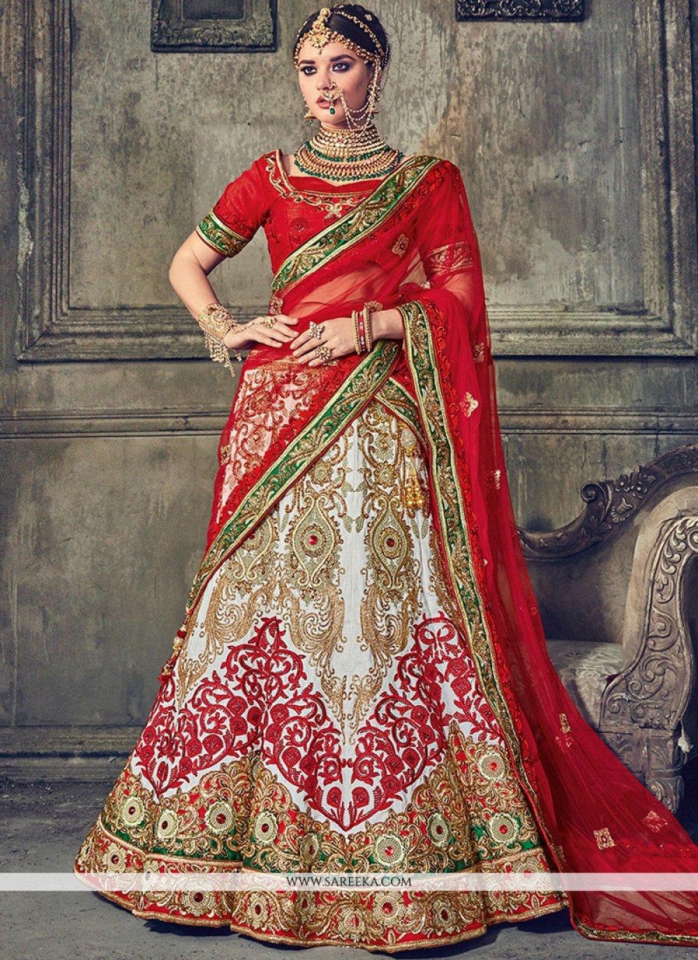 Beige and Red Embroidered Work Art Silk Lehenga Choli