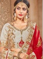 Beige and Red Embroidered Work Lehenga Choli