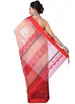 Beige and Red Resham Work Cotton Silk Traditional  Saree
