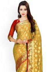 Beige and Red Weaving Work Kanchipuram silk Classic Saree