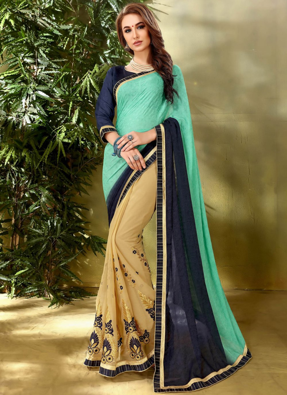 Beige and Sea Green Embroidered Work Half N Half  Saree