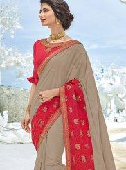 Buy Online Beige Art Silk Embroidered Designer Traditional Saree