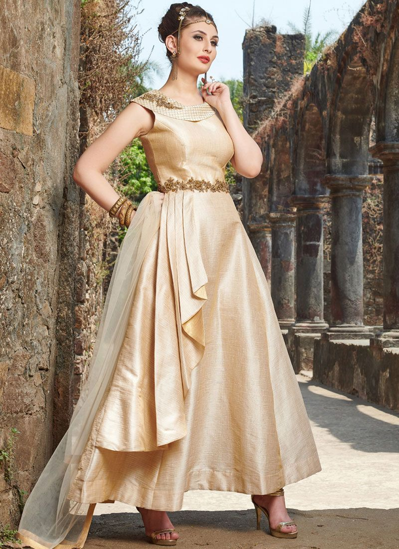 Beige Art Silk Party Readymade Anarkali Suit