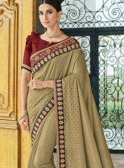 Beige Art Silk Patch Border Traditional Designer Saree