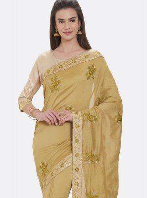 Beige Embroidered Art Silk Designer Traditional Saree
