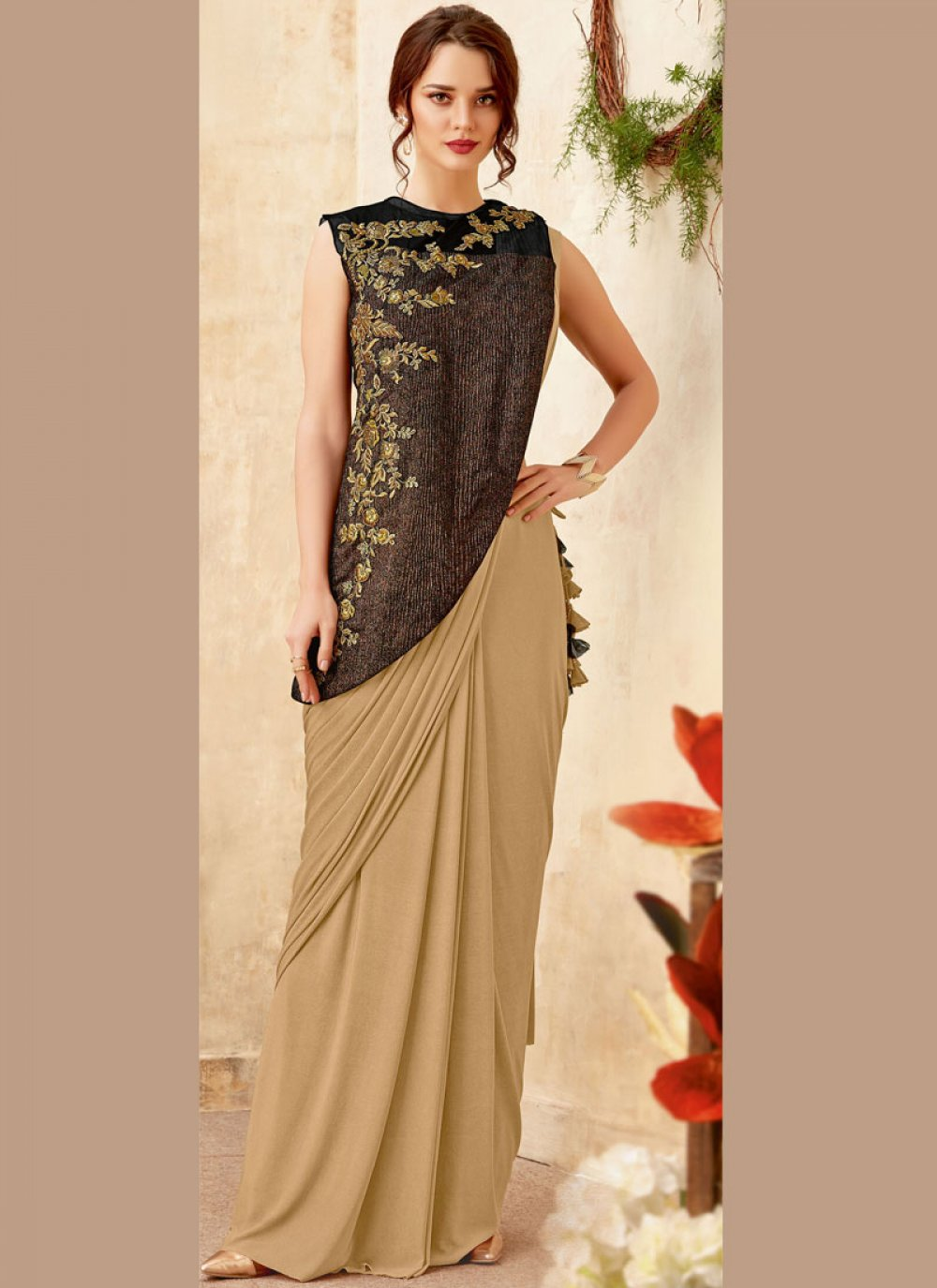 Beige Embroidered Designer Saree