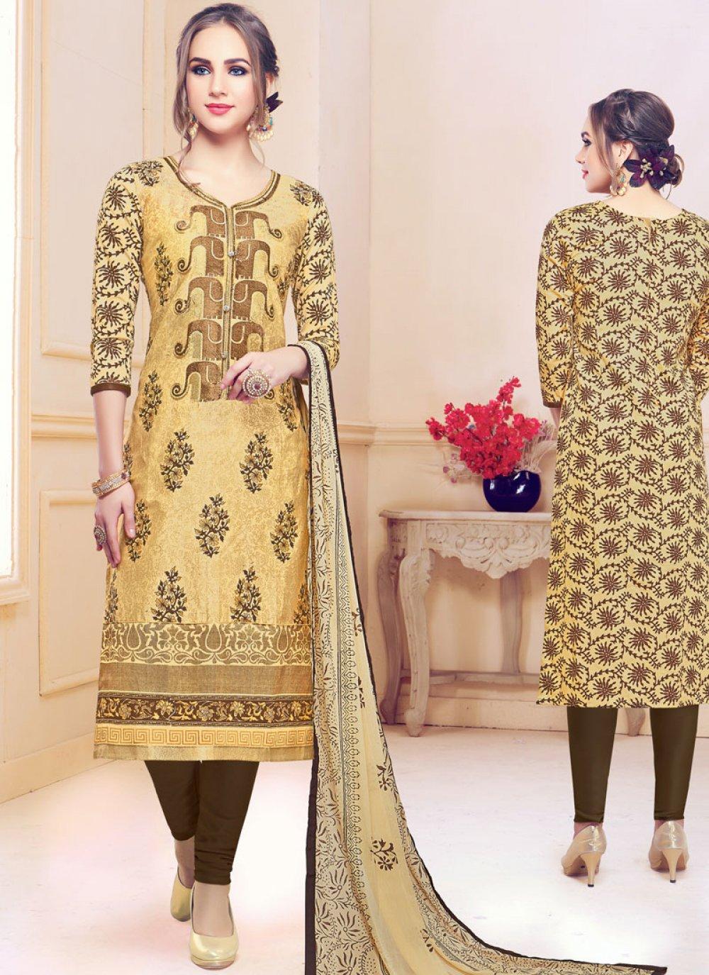 Beige Embroidered Party Churidar Designer Suit