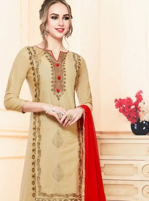 Beige Embroidered Salwar Kameez