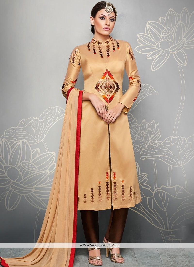 Beige Embroidered Work Art Silk Readymade Suit