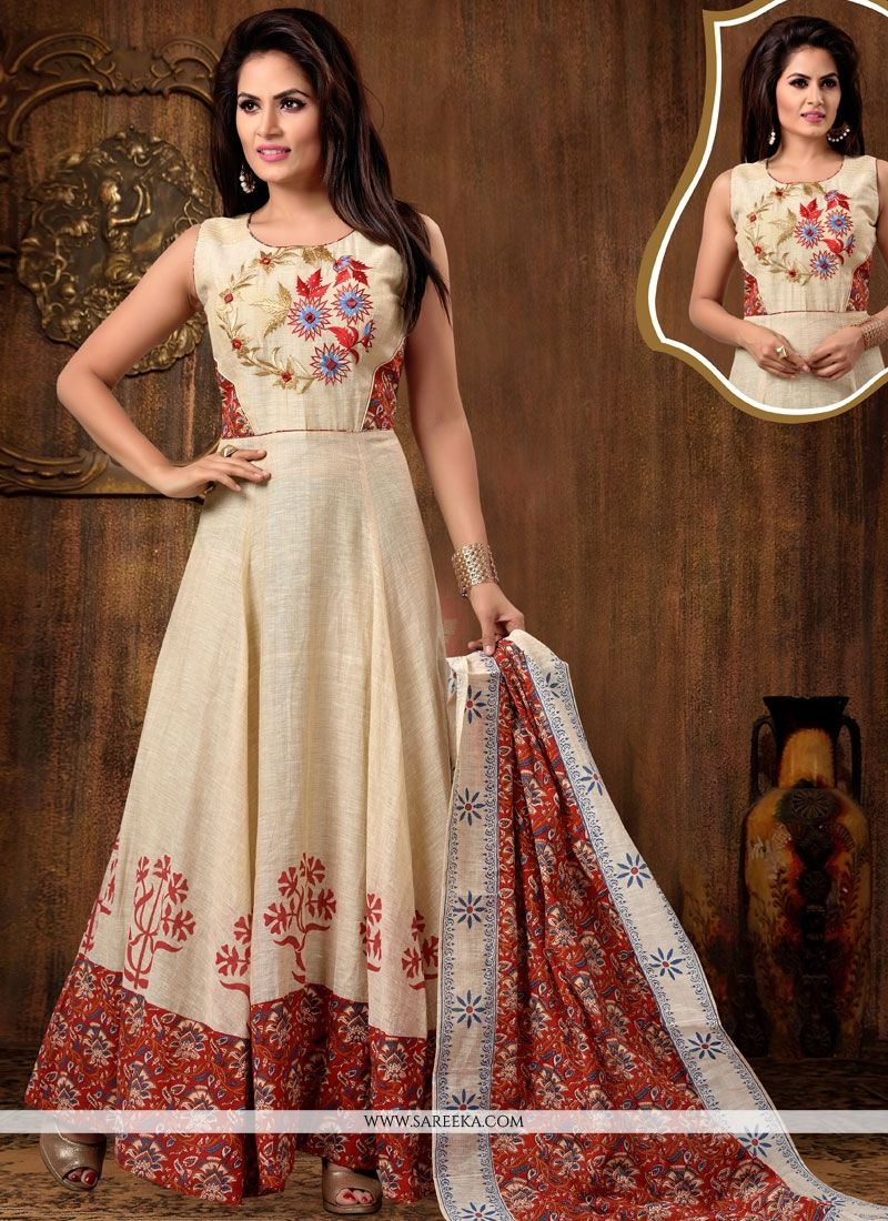 Beige Embroidered Work Chanderi Cotton Readymade Anarkali Suit
