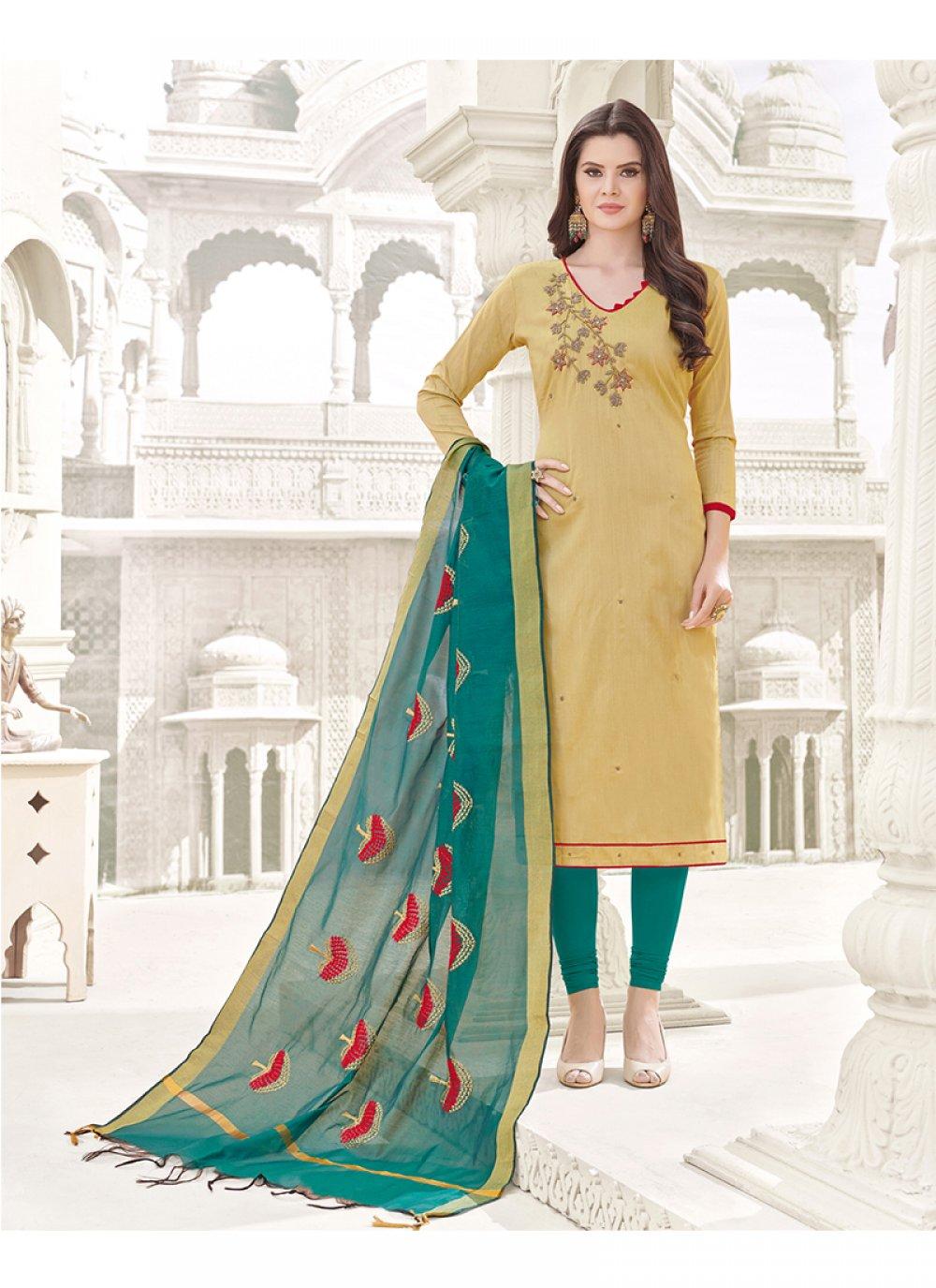 Beige Embroidered Work Cotton   Churidar Designer Suit
