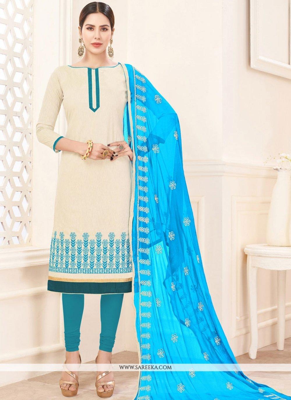 Beige Embroidered Work Cotton   Churidar Suit