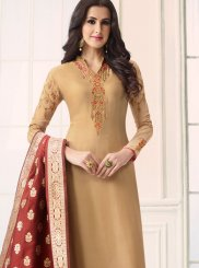 Beige Embroidered Work Designer Straight Suit