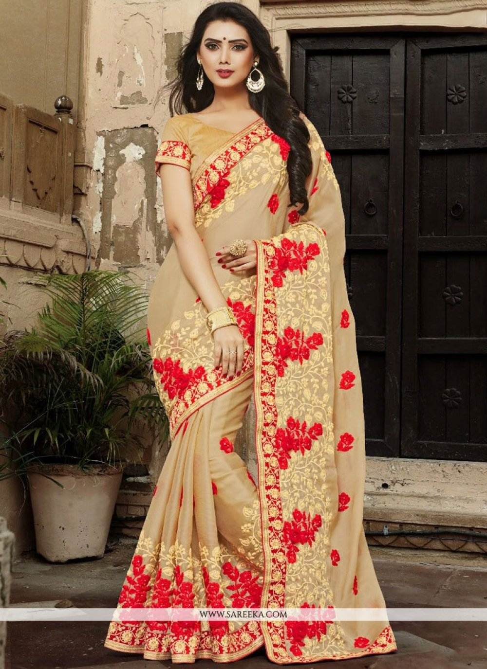 Beige Embroidered Work Fancy Fabric Designer Traditional Saree