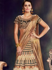 Beige Embroidered Work Raw Silk Lehenga Saree