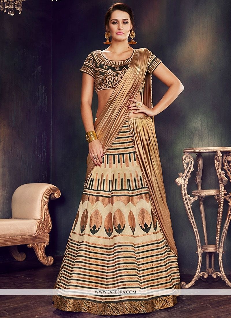 Beige Embroidered Work Raw Silk Lehenga Saree