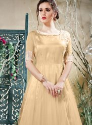 Beige Embroidered Work Readymade Gown