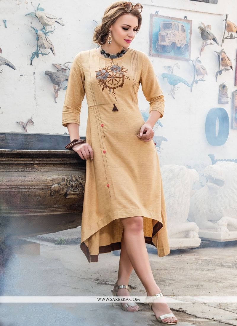 Beige Fancy Fabric Party Wear Kurti