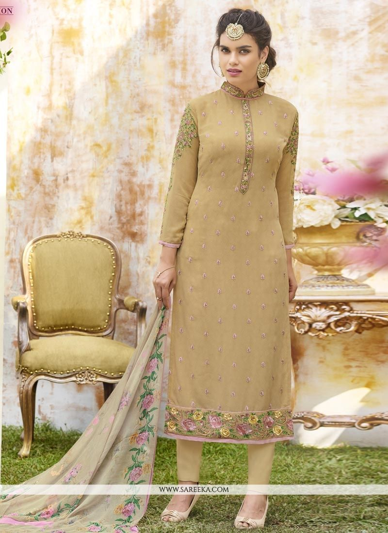 Beige Faux Georgette Churidar Designer Suit