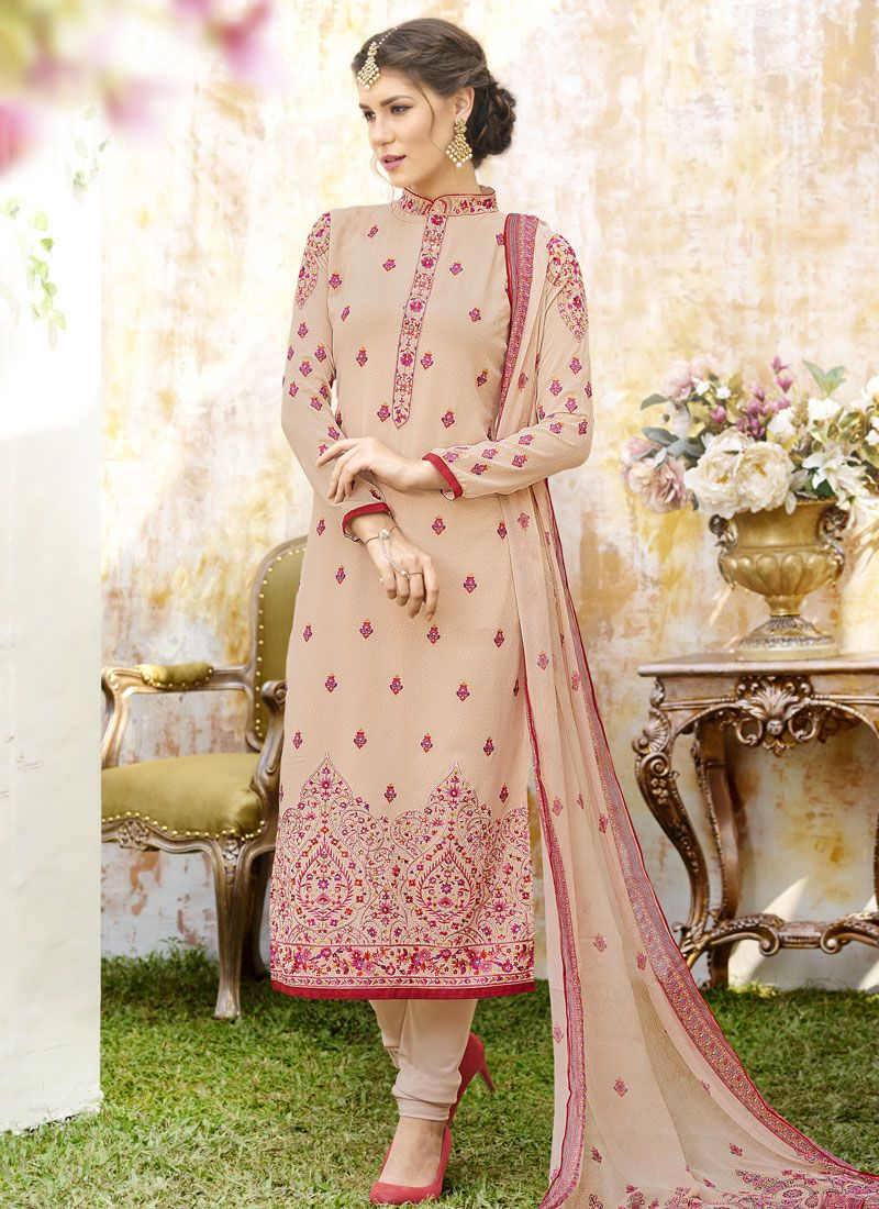Beige Faux Georgette Designer Straight Suit