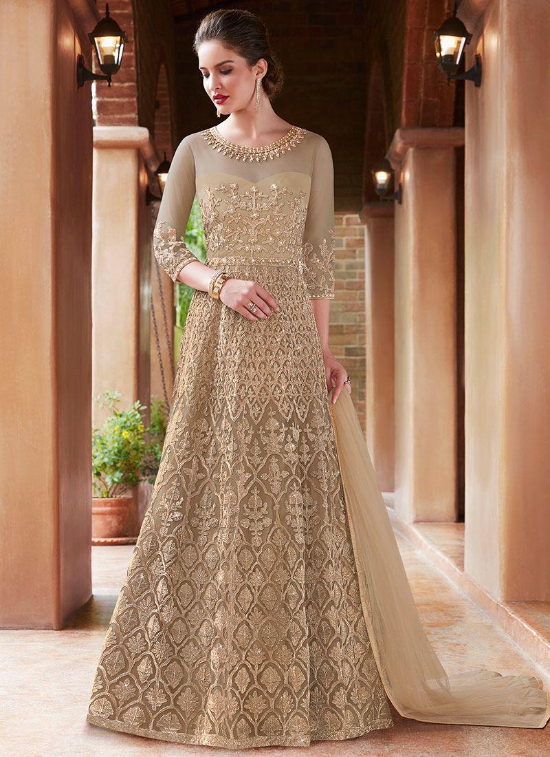 Beige Floor Length Anarkali Suit