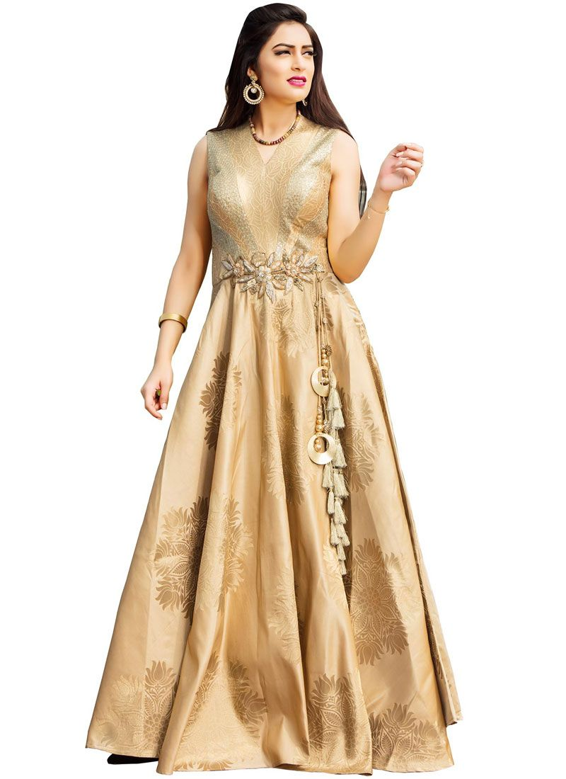 Beige Handwork Work Readymade Gown